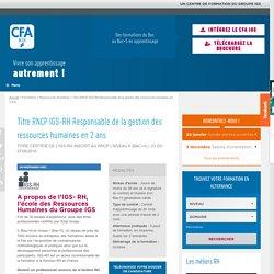 Titre Responsable de la gestion des RH en alternance CFA IGS