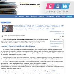 """""""Internet responsable & cyber-harcèlement"""" au séminaire des IAN - [Espace Doc Web]"""