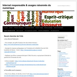 Internet responsable » Savoir chercher de l'info
