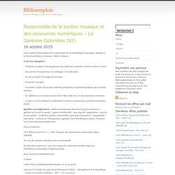 Responsable de la section musique et des ressources numériques – La Garenne-Colombes (92)