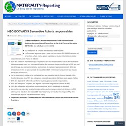HEC-ECOVADIS Baromètre Achats responsables – MATERIALITY-Reporting