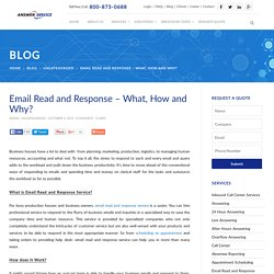 Email Read and Response – What, How and Why?