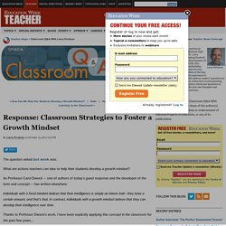 Response: Classroom Strategies to Foster a Growth Mindset