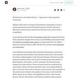 My Response to the Pinker Petition—Open Letter to the Linguistics Community