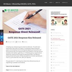 GATE 2021 Response Key Released