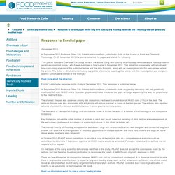 FSANZ - OCT 2012 - Response to Séralini paper on the long term toxicity of a Roundup herbicide and a Roundup-tolerant geneticall
