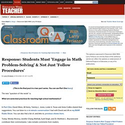 Response: Students Must 'Engage in Math Problem-Solving' & Not Just 'Follow Procedures'