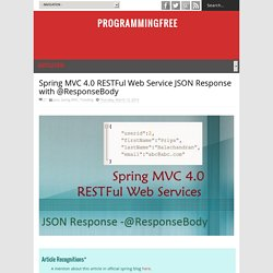Spring MVC 4.0 RESTFul Web Service JSON Response with @ResponseBody