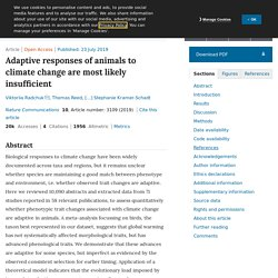 NATURE 23/07/19 Adaptive responses of animals to climate change are most likely insufficient