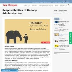 Responsibilities of Hadoop Administration