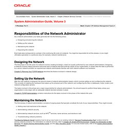 Responsibilities of the Network Administrator (System Administration Guide, Volume 3)
