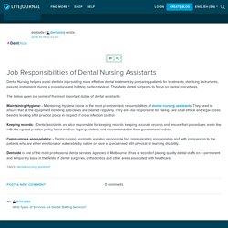 Job Responsibilities of Dental Nursing Assistants: dentaide