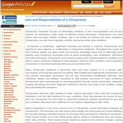 Jobs and Responsibilities of a Chiropractor