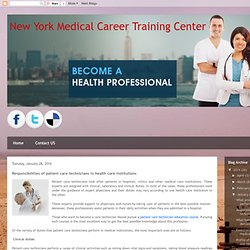 Responsibilities of patient care technicians in health care institutions