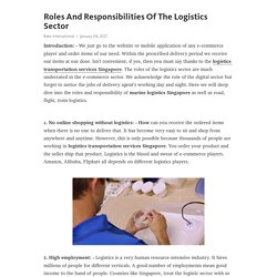 Roles And Responsibilities Of The Logistics Sector – Telegraph