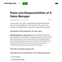 Roles and Responsibilities of A Sales Manager
