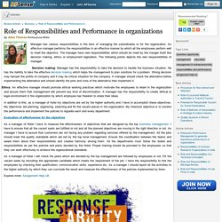 Role of Responsibilities and Performance in organizations