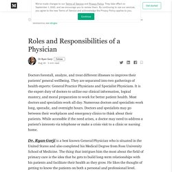 Roles and Responsibilities of a Physician