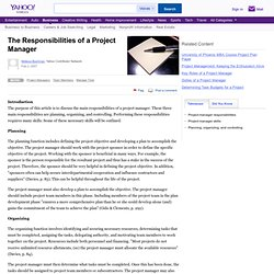 The Responsibilities of a Project Manager