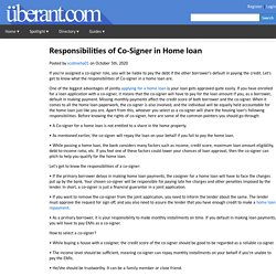 Responsibilities of Co-Signer in Home loan