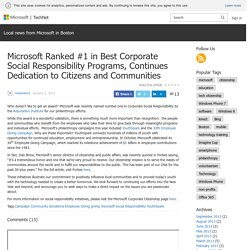 Microsoft Ranked #1 in Best Corporate Social Responsibility Programs, Continues Dedication to Citizens and Communities – Local news from Microsoft in Boston