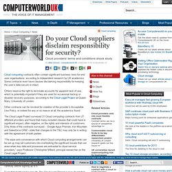 Do your Cloud suppliers disclaim responsibility for security?