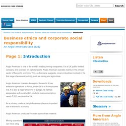 Business ethics and corporate social responsibility - Anglo American
