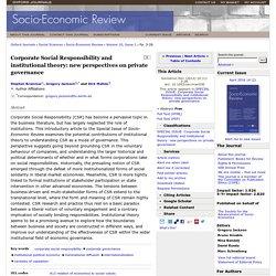 Corporate Social Responsibility and institutional theory: new perspectives on private governance