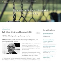 Handout: Individual Ministerial Responsibility - Political Investigations