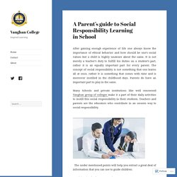 A Parent's guide to Social Responsibility Learning in School – Vaughan College