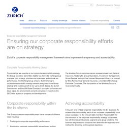 Zurich corporate responsibility management framework