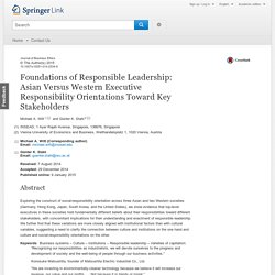 Foundations of Responsible Leadership: Asian Versus Western Executive Responsibility Orientations Toward Key Stakeholders