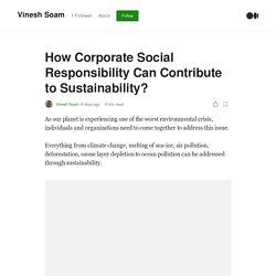 How Corporate Social Responsibility Can Contribute to Sustainability?