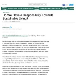Do We Have a Responsibility Towards Sustainable Living?