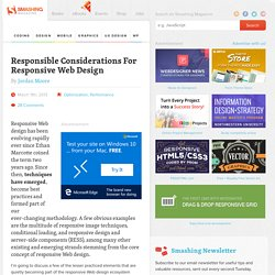 Responsible Considerations For Responsive Web Design
