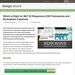 Which Is Right for Me? 22 Responsive CSS Frameworks and Boilerplates Explained