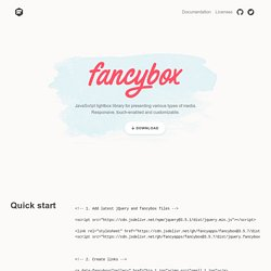 fancybox - Touch enabled, responsive and fully customizable jQuery lightbox script