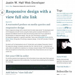 Responsive design with a view full site link