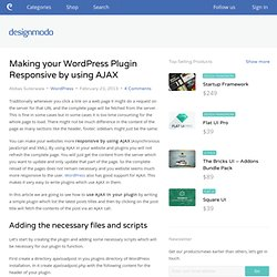 Making your WordPress Plugin Responsive by using AJAX
