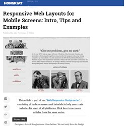 Responsive Web Layouts for Mobile Screens: Intro, Tips and Examples