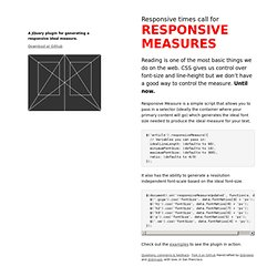 Responsive Measure: A jQuery plugin for responsive typography