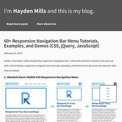 60+ Responsive Navigation Bar Menu Tutorials, Examples, and Demos (CSS, jQuery, JavaScript)