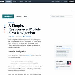 A Simple, Responsive, Mobile First Navigation