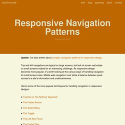 Responsive Navigation Patterns