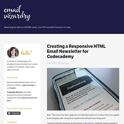 Creating a Responsive HTML Email Newsletter for Codecademy