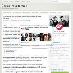 Le Responsive Web Design ou comment améliorer l'expérience utilisateur