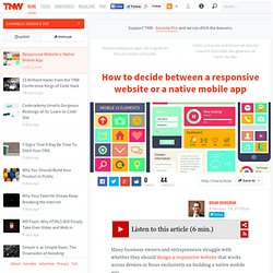 Responsive Website v. Native Mobile App