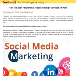 Pick the Best Responsive Website Design Services In India