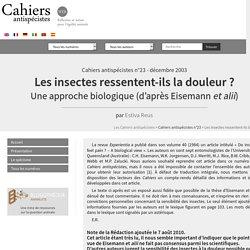 Les insectes ressentent-ils la douleur? - Les Cahiers antispécistes