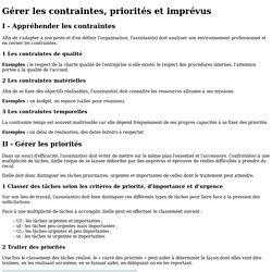 DOCUMENT 3 - Fiche ressource 4 - Gérer les contraintes, priorités et imprévus